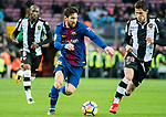 Lionel Andres Messi (L) of FC Barcelona is tackled by Sasa Lukic of Levante UD  during the La Liga 2017-18 match between FC Barcelona and Levante UD at Camp Nou on 07 January 2018 in Barcelona, Spain. Photo by Vicens Gimenez / Power Sport Images