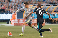 Melbourne, 24 July 2015 - Cristiano Ronaldo of Real Madrid kicks the ball in game three of the International Champions Cup match between Manchester City and Real Madrid at the Melbourne Cricket Ground, Australia. Real Madrid def City 4-1. (Photo Sydney Low / AsteriskImages.com)