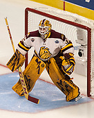 Hunter Miska (UMD - 35) - The University of Minnesota Duluth Bulldogs defeated the Harvard University Crimson 2-1 in their Frozen Four semi-final on April 6, 2017, at the United Center in Chicago, Illinois.