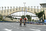 Bahrain-Merida riders recon the course before Stage 1 of the 101st edition of the Giro d'Italia 2018 an individual time trial of 9.7km around Jerusalem, Israel. 4th May 2018.<br /> Picture: LaPresse/Fabio Ferrari | Cyclefile<br /> <br /> <br /> All photos usage must carry mandatory copyright credit (&copy; Cyclefile | LaPresse/Fabio Ferrari)