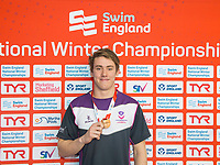 Picture by Allan McKenzie/SWpix.com - 13/12/2017 - Swimming - Swim England Winter Championships - Ponds Forge International Sport Centre - Sheffield, England - Alexander Bowen takes bronze in the mens open 50m butterfly.