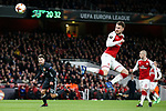 Aaron Ramsey of Arsenal scoring his 2nd goal and his side's 3rd goal during the UEFA Europa League Quarter-Final 1st leg match at the Emirates Stadium, London. Picture date 5th April 2018. Picture credit should read: Charlie Forgham-Bailey/Sportimage