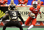 SIOUX FALLS, SD - JUNE 23:  Chris Dixon #2 from the Sioux Falls Storm looks to make a move against Marvin Johnson #3 from the Lee Valley Steelhawks in the first quarter of their first round playoff game Saturday night at the Sioux Falls Arena. (Photo by Dave Eggen/Inertia)