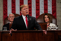 FEBRUARY 5, 2019 - WASHINGTON, DC: President Donald Trump delivered the State of the Union address, with Vice President Mike Pence and Speaker of the House Nancy Pelosi, at the Capitol in Washington, DC on February 5, 2019.<br /> Credit: Doug Mills / Pool, via CNP /MediaPunchCAP/MPI/RS<br /> ©RS/MPI/Capital Pictures