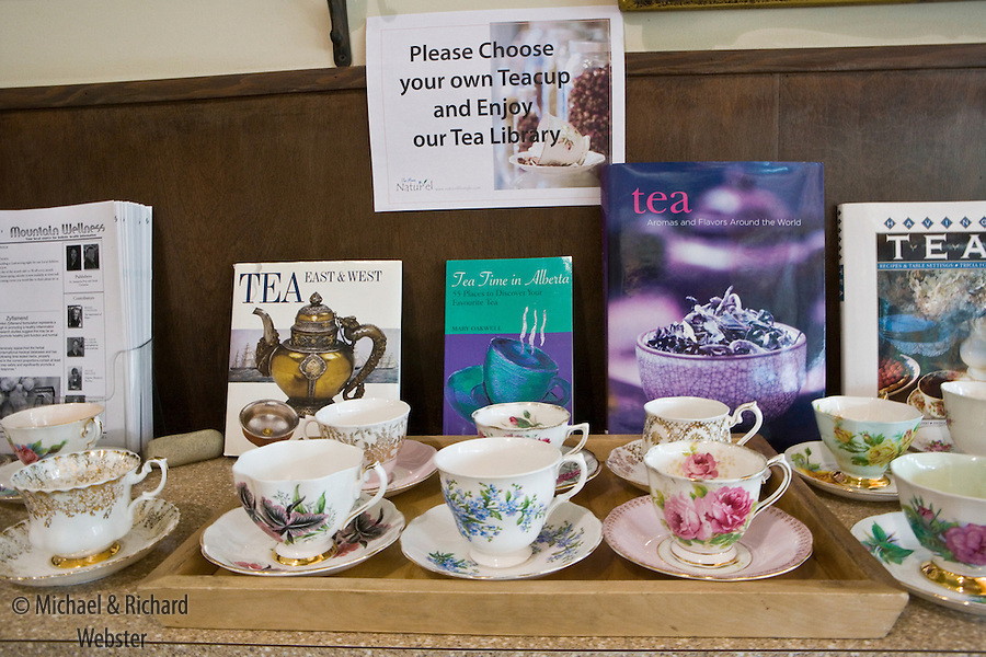 A display of tea cups ready for use in an Albertan cafe.