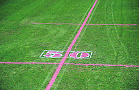 Pink lines mark the field during the Pink Batts Heartland Championship 2013 season launch at Waikanae RFC, Waikanae, New Zealand on Tuesday, 13 August 2013. Photo: Dave Lintott / lintottphoto.co.nz