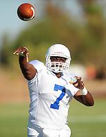 Sept. 16, 2009; Casa Grande, AZ, USA; California Redwoods quarterback Shane Boyd during training camp at the Casa Grande Training Facility & Performance Institute. Mandatory Credit: Mark J. Rebilas-