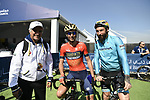 H.E. Saeed Hareb, Vincenzo Nibali (ITA) Bahrain-Merida and Vittorio Brumotti at sign on before the start of Stage 1 The Nakheel Stage of the Dubai Tour 2018 the Dubai Tour&rsquo;s 5th edition, running 167km from Skydive Dubai to Palm Jumeirah, Dubai, United Arab Emirates. 6th February 2018.<br /> Picture: LaPresse/Fabio Ferrari | Cyclefile<br /> <br /> <br /> All photos usage must carry mandatory copyright credit (&copy; Cyclefile | LaPresse/Fabio Ferrari)