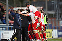 Stevenage players and bench celebrate after Lawrie Wilson scores their second goal.Rochdale v Stevenage - npower League 1 - Spotland, Rochdale - 14th January, 2012.© Kevin Coleman 2012