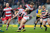 Henry Purdy of Gloucester Rugby takes on the Leicester Tigers defence. Aviva Premiership match, between Leicester Tigers and Gloucester Rugby on February 11, 2017 at Welford Road in Leicester, England. Photo by: Patrick Khachfe / JMP