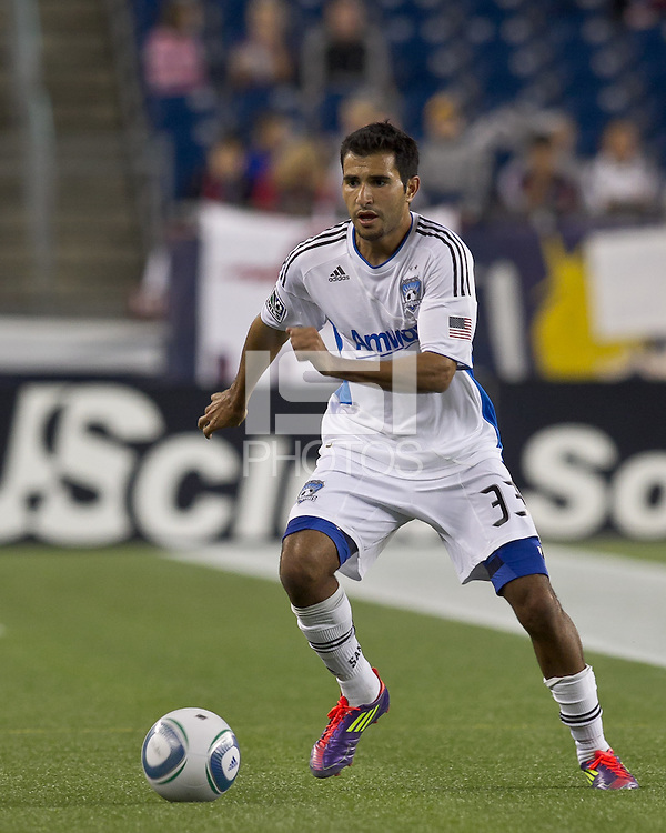 San Jose Earthquakes defender Steven Beitashour (33) at midfield. In a Major League Soccer (MLS) match, the San Jose Earthquakes defeated the New England Revolution, 2-1, at Gillette Stadium on October 8, 2011.