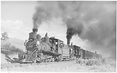 RGS #42 doubleheading with RGS #40 pulling a southbound stock train approaching Dallas Divide.<br /> RGS  near Peake, CO  Taken by Perry, Otto C. - 10/24/1940