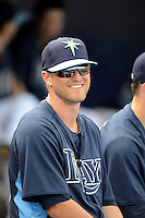 Tampa Bay Rays catcher Mark Thomas #67 in the dugout before a Grapefruit League Spring Training game against the Boston Red Sox at Charlotte County Sports Park on February 25, 2013 in Port Charlotte, Florida.  Tampa Bay defeated Boston 6-3.  (Mike Janes/Four Seam Images)
