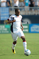 Sainey Nyassi (17) of the New England Revolution. The Philadelphia Union and the New England Revolution  played to a 1-1 tie during a Major League Soccer (MLS) match at PPL Park in Chester, PA, on July 31, 2010.