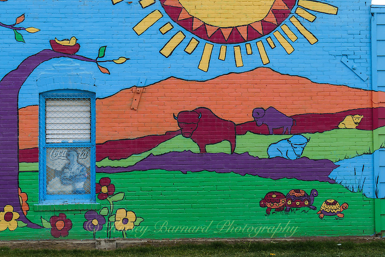 Colorful Montana graffiti found on a wall in the lakeside town of Polson on the Flathead Reservation