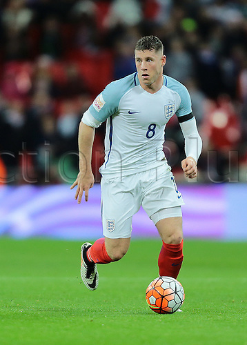 29.03.2016. Wembley Stadium, London, England.  International Football Friendly England versus Netherlands. England Midfielder Ross Barkley sprints forward with the ball during the final minutes of the game, in a last ditch effort to equalise