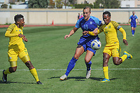 20190306 - PARALIMNI , CYPRUS :South African defender Noko Matlou (right) pictured during a women's soccer game between Finland and South Africa , on Wednesday 6 March 2019 at the Tassos Markou Stadium in Paralimni , Cyprus.  This last game for both teams which decides for places 9 and 10 of the Cyprus Womens Cup 2019 , a prestigious women soccer tournament as a preparation on the Uefa Women's Euro 2021 qualification duels.PHOTO SPORTPIX.BE | STIJN AUDOOREN
