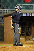 Home plate umpire Brandon Sheeler during the Coastal Plain League game between the Wilson Tobs and the High Point-Thomasville HiToms at Finch Field on June 17, 2013 in Thomasville, North Carolina.  The Tobs defeated the HiToms 3-2 in 11 innings.  Brian Westerholt/Four Seam Images