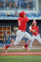 Palm Beach Cardinals second baseman Andy Young (15) follows through on a swing during a game against the Charlotte Stone Crabs on April 21, 2018 at Charlotte Sports Park in Port Charlotte, Florida.  Charlotte defeated Palm Beach 5-2.  (Mike Janes/Four Seam Images)