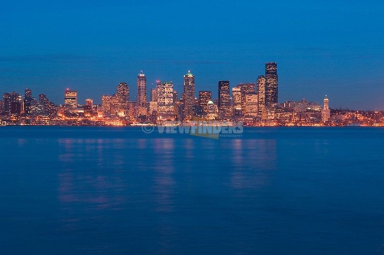 Downtown Seattle, Washington city skyline at dusk.