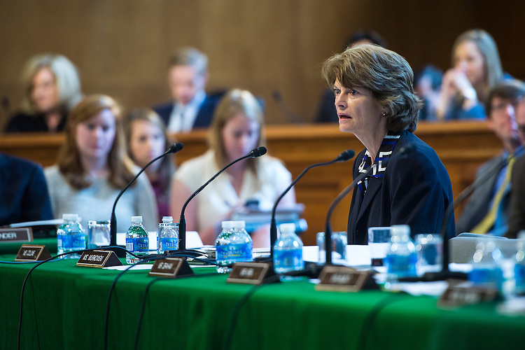"UNITED STATES - MAY 19 - Sen. Lisa Murkowski, R-Alaska, speaks during a Senate Appropriations meeting to markup a the bill ""Agriculture, Rural Development, Food and Drug Administration, and Related Agencies Appropriations Act, 2017,″ on Capitol Hill in Washington, Thursday, May 19, 2016. (Photo By Al Drago/CQ Roll Call)"