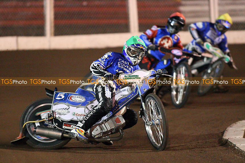 Heat 4: Chris Holder (green) ahead of Freddie Eriksson (yellow) and Leigh Lanham - Lakeside Hammers vs Poole Pirates - Spring Trophy 2nd Leg at Arena Essex Raceway - 14/03/08 - MANDATORY CREDIT: Gavin Ellis/TGSPHOTO. Self-Billing applies where appropriate. NO UNPAID USE. Tel: 0845 094 6026