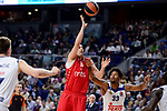 Real Madrid's Trey Thompkins and Crvena Zvezda Mts Belgrade's Milko Bjelica during Turkish Airlines Euroleague match between Real Madrid and Crvena Zvezda Mts Belgrade at Wizink Center in Madrid, Spain. March 10, 2017. (ALTERPHOTOS/BorjaB.Hojas)
