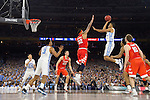 02 APR 2016:  Brice Johnson (10) of the University of North Carolina drives to the hoop against Syracuse University during the NCAA Division I Men's Final Four held at NRG Stadium in Houston, TX.  North Carolina defeated Syracuse 83-66 to advance to the finals.  Jamie Schwaberow/NCAA Photos