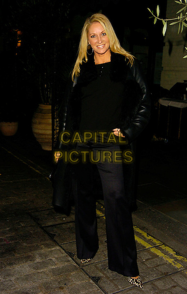 SARAH BOSNICH.Jean-Christophe Novelli's Findus Food Range Launch, Absolut Ice Bar, London, UK..January 24th, 2007.full length black trousers top leather jacket .CAP/CAN.©Can Nguyen/Capital Pictures