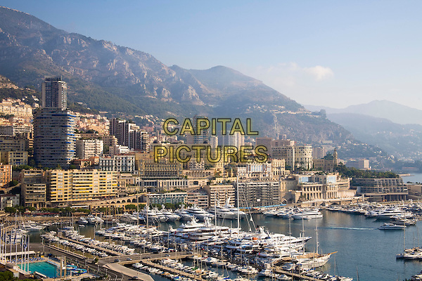 Overlooking the town and harbour of Monte Carlo, Monaco, France
