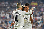 Real Madrid's Sergio Ramos (L) and Carlos Henrique Casemiro celebrate goal during La Liga match. September 01, 2018. (ALTERPHOTOS/A. Perez Meca)