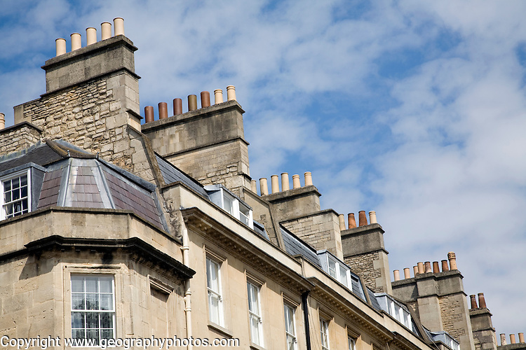 Georgian town house showing upper floors and chimney pots, Rivers Street, Bath, England