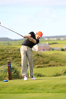 Billy McGarry (Birr) on the 14th tee during Round 2 of The South of Ireland in Lahinch Golf Club on Sunday 27th July 2014.<br /> Picture:  Thos Caffrey / www.golffile.ie