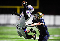 NWA Democrat-Gazette/CHARLIE KAIJO Arkadelphia High School defensive back Victor Tademy (3) nearly intercepts a pass intended for Shiloh Christian High School Blake Thomson (1) during a Class 4A semi-final playoff football game, Saturday, December 1, 2018 at Champions Stadium at Shiloh Christian High School in Springdale.