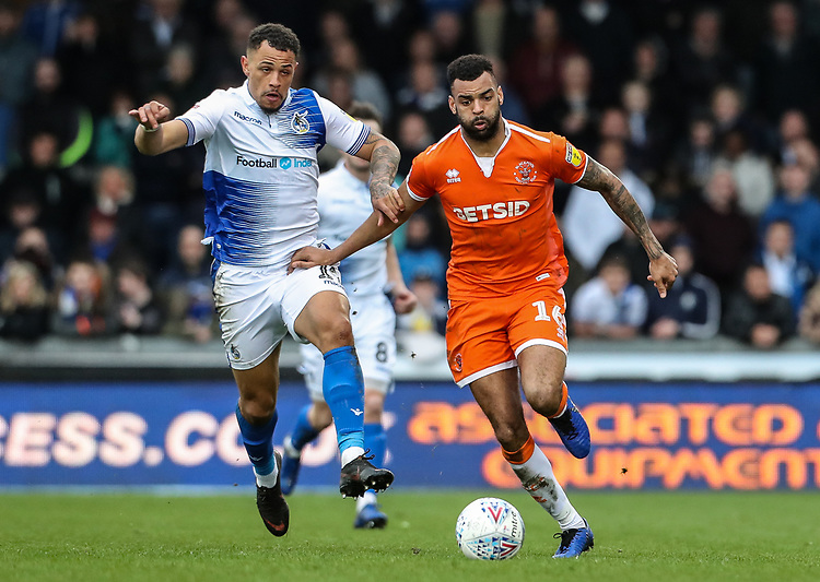 Blackpool's Curtis Tilt competing with Bristol Rovers' Jonson Clarke-Harris <br /> <br /> Photographer Andrew Kearns/CameraSport<br /> <br /> The EFL Sky Bet League Two - Bristol Rovers v Blackpool - Saturday 2nd March 2019 - Memorial Stadium - Bristol<br /> <br /> World Copyright © 2019 CameraSport. All rights reserved. 43 Linden Ave. Countesthorpe. Leicester. England. LE8 5PG - Tel: +44 (0) 116 277 4147 - admin@camerasport.com - www.camerasport.com