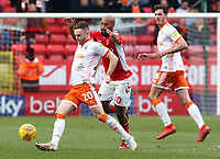 Blackpool's Oliver Turton is pressured by Charlton Athletic's Josh Parker<br /> <br /> Photographer David Shipman/CameraSport<br /> <br /> The EFL Sky Bet League One - Charlton Athletic v Blackpool - Saturday 16th February 2019 - The Valley - London<br /> <br /> World Copyright © 2019 CameraSport. All rights reserved. 43 Linden Ave. Countesthorpe. Leicester. England. LE8 5PG - Tel: +44 (0) 116 277 4147 - admin@camerasport.com - www.camerasport.com