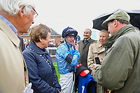Jockey Jack Mitchell talks to connections of Ascension after winning The British EBF Molson Coors Novice Stakes Div 1 during Horse Racing at Salisbury Racecourse on 14th August 2019