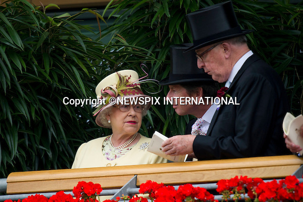 """ROYAL ASCOT 2011 DAY 4..The Queen enjoys a laugh on the balcony, Friday at Royal Ascot_17/06/2011..Mandatory Photo Credit: ©Dias/Newspix International..**ALL FEES PAYABLE TO: """"NEWSPIX INTERNATIONAL""""**..PHOTO CREDIT MANDATORY!!: NEWSPIX INTERNATIONAL(Failure to credit will incur a surcharge of 100% of reproduction fees)..IMMEDIATE CONFIRMATION OF USAGE REQUIRED:.Newspix International, 31 Chinnery Hill, Bishop's Stortford, ENGLAND CM23 3PS.Tel:+441279 324672  ; Fax: +441279656877.Mobile:  0777568 1153.e-mail: info@newspixinternational.co.uk"""