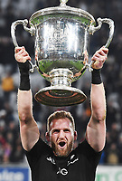 All Blacks Captain Kieran Read with the Bledisleo Cup after winning the match 35-29.<br /> Bledisloe Cup and Rugby Championship test match. New Zealand All Blacks v Australian Wallabies at Forsyth Barr Stadium, Dunedin, New Zealand. Saturday 26 August 2017. © Copyright photo: Andrew Cornaga / www.Photosport.nz