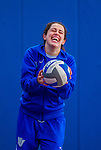 27 October 2013: Yeshiva University Maccabee Outside Hitter Gabi Katz, a Junior from New Rochelle, NY, warms up prior to a game against the College of Mount Saint Vincent Dolphins at the College of Mount Saint Vincent in Riverdale, NY. The Dolphins defeated the Maccabees 3-0 in NCAA women's volleyball play. Mandatory Credit: Ed Wolfstein Photo *** RAW (NEF) Image File Available ***
