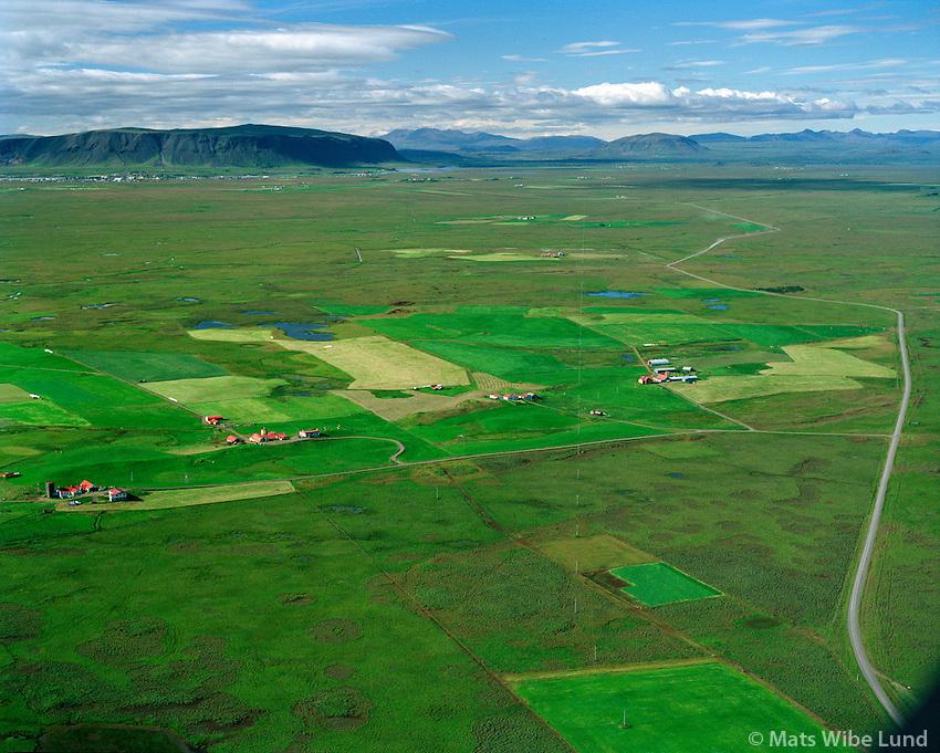 Efri-Gegnishólar, Gegnishólapartur, Hólshús, Syðri-Gegnishólar, séð til norðausturs, Gaulverjabæjarhreppur / Efri-Gegnisholar, Gegnishólapartur, Holshus and Sydri-Gegnisholar, viewing northwest. Gaulverjabaejarhreppur