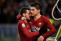 Diego Perotti of AS Roma (R) celebrates with Alessandro Florenzi after scoring a goal  during the Serie A 2018/2019 football match between AS Roma and Sassuolo at stadio Olimpico, Roma, December, 26, 2018 <br />  Foto Andrea Staccioli / Insidefoto