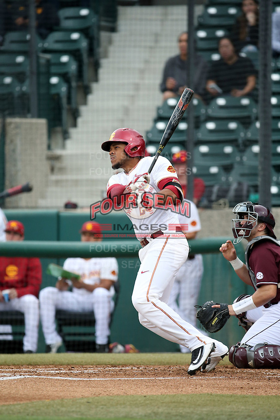 Timmy Robinson (28) of the Southern California Trojans bats against the Mississippi State Bulldogs at Dedeaux Field on March 5, 2016 in Los Angeles, California. Mississippi State defeated Southern California , 8-7. (Larry Goren/Four Seam Images)