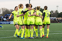 Allston, MA - Sunday, April 24, 2016: Seattle Reign FC defender Rachel Corsie (4) and teammates celebrate Corsie's goal. The Boston Breakers play Seattle Reign during a regular season NSWL match at Harvard University.
