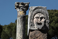 Theatrical Mask, proscenium of the 1st century BC theatre of Ostia Antica, Italy. Picture by Manuel Cohen