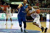 GRONINGEN - Basketbal, Donar - Fribourg, tweede voorronde Champions League, seizoen 2018-2019, 25-09-2018,  Donar speler Jason Dourisseau met Fribourg  speler  Dusan Mladjan