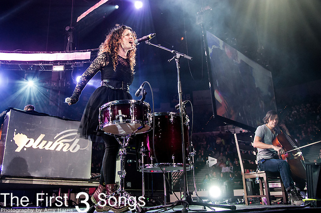Plumb performs during the 2014 Winter Jam Tour at the Wolstein Center in Cleveland, Ohio.