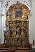 Main Altar, 18th century, Iglesia de San Esteban (St Stephen's Church), 12th-13th centuries, Segovia, Castile and Leon, Spain. Late Romanesque sandstone church. Baroque interior rebuilt after fire, 18th century. Picture by Manuel Cohen