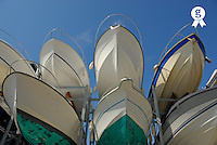 Boat rack, low angle view (Licence this image exclusively with Getty: http://www.gettyimages.com/detail/200437441-001 )