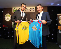 Pictured: Lukasz Fabianski with sponsor Wednesday 20 May 2015<br /> Re: Swansea City FC Awards Dinner at the Liberty Stadium, south Wales, UK